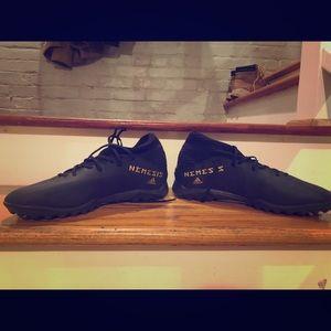 Men's adidas black soccer turf shoes, size 11